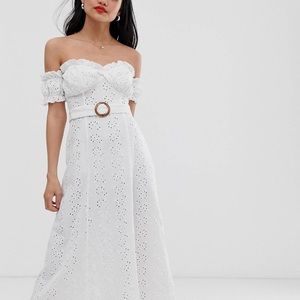 Off the shoulder maxi white dress with belt